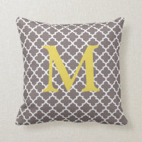 Any Color Monogram Moroccan Tile Pattern Pillow
