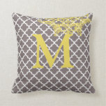 Any Color Monogram Moroccan Tile Pattern Pillows