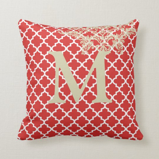 Any Color Monogram Moroccan Tile Pattern Throw Pillow