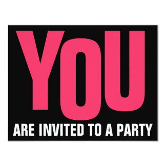 Any color on Black Any Occasion PARTY 4.25x5.5 Paper Invitation Card