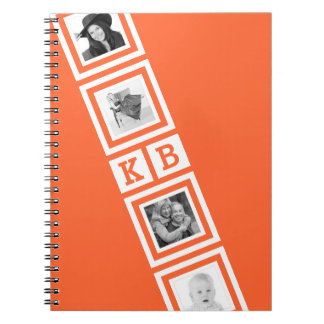 Any Color Personalized Photo and Initials Spiral Notebook