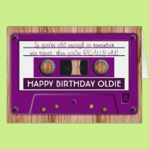 Any Color Retro Music Cassette Tape Birthday Card