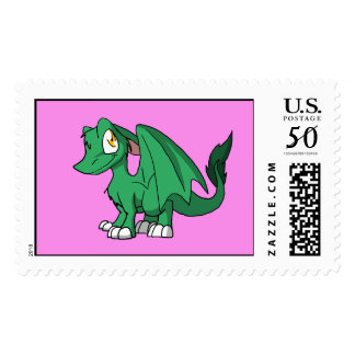 Any Color SD Furry Dragon w/ Pink Background Postage