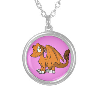 Any Color SD Furry Dragon w/ Pink Background Silver Plated Necklace