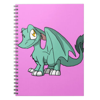 Any Color SD Furry Dragon w/ Pink Background Spiral Notebook