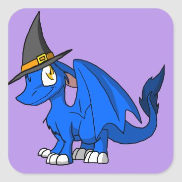Halloween Themed Any Color SD Furry Dragon w/ Witch's Hat 2 Square Sticker
