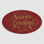 Any Color Season's Greetings Gold Sticker