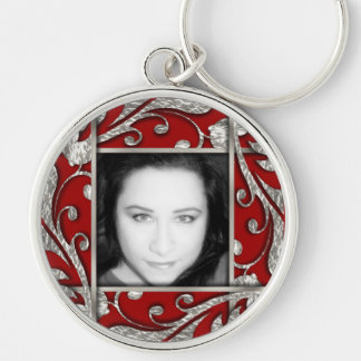 Any Color Silver Lattice Photo Frame Keychain