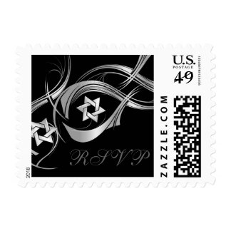Any Color Silver Star Swag Bat Mitzvah RSVP Postage