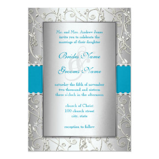 Any Color Silver Swirl Wedding Announcement