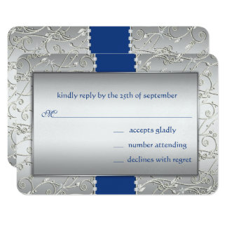 Any Color Silver Swirl Wedding-shown in Royal Blue Card