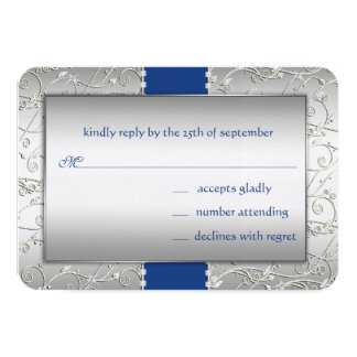 Any Color Silver Swirl Wedding-shown in Royal Blue Custom Announcement