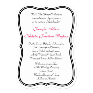 Any Color Simple Double Border Shaped Wedding Card