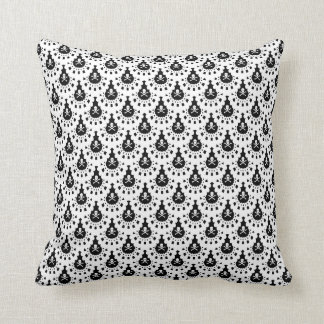 ANY COLOR! Skull and Crossbones Lace Black Ground Throw Pillow