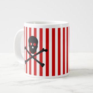 ANY COLOR! Stripe Black Skull and Crossbones Mug