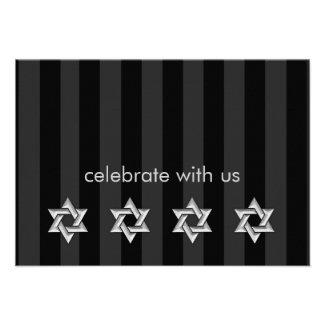 Any Color Stripe Silver Stars of David Reception Personalized Invites