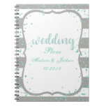 Any Color Stripes & Mint Confetti Wedding Planner Spiral Notebook