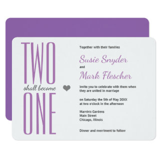 Any Color Two Become One Bible Wedding Invitation