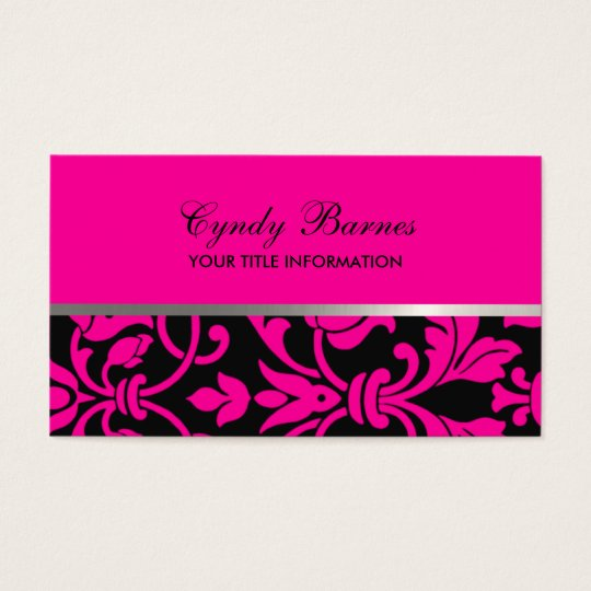 Any Color with Black Damask Business Card