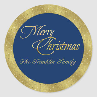 Any Color with Gold Border and Merry Christmas Classic Round Sticker