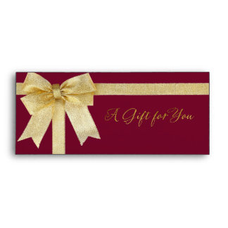 Any Color with Gold Bow A Gift for You Envelope