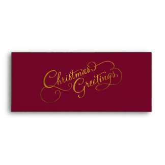 Any Color with Gold Foil Look Christmas Greetings Envelope