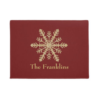 Any Color with Gold Glitter Snowflake Doormat