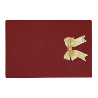 Any Color with Gold Holiday Bow Add Your Text Placemat