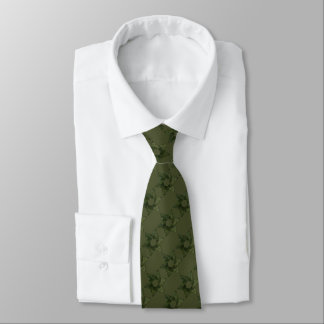 Any Color with Moss Green Star of David Pattern Neck Tie
