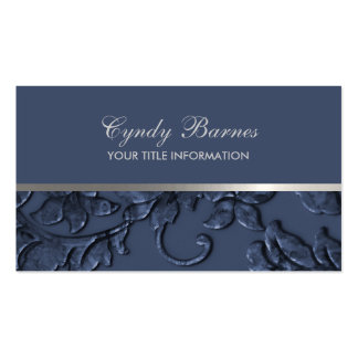 Any Color with Navy Damask Business Card