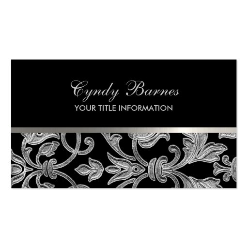 Any Color with Silver Damask Business Card