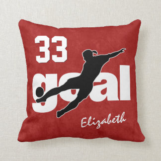ANY color women's soccer player kicking goal Throw Pillow