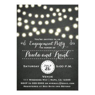 Any Event Chalkboard String Lights Engagement Card