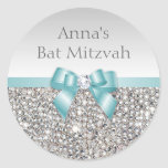 Any Event Faux Silver Sequins Teal Bow Diamond Classic Round Sticker