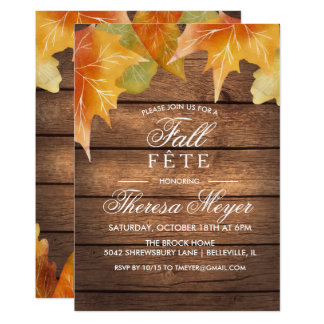 ANY EVENT - Rustic Autumn Fall Leaves Invitation