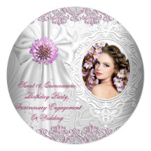 Any Event White Lace Pink Floral Photo Invites
