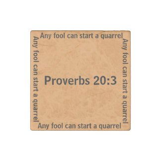 Any fool can start a quarrel (Proverb 20:3) Stone Magnet