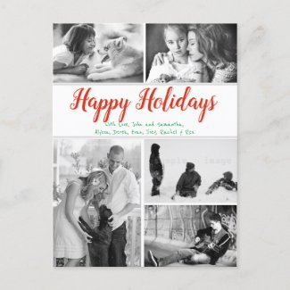 Any Greeting Multi Photo Family Christmas Postcard