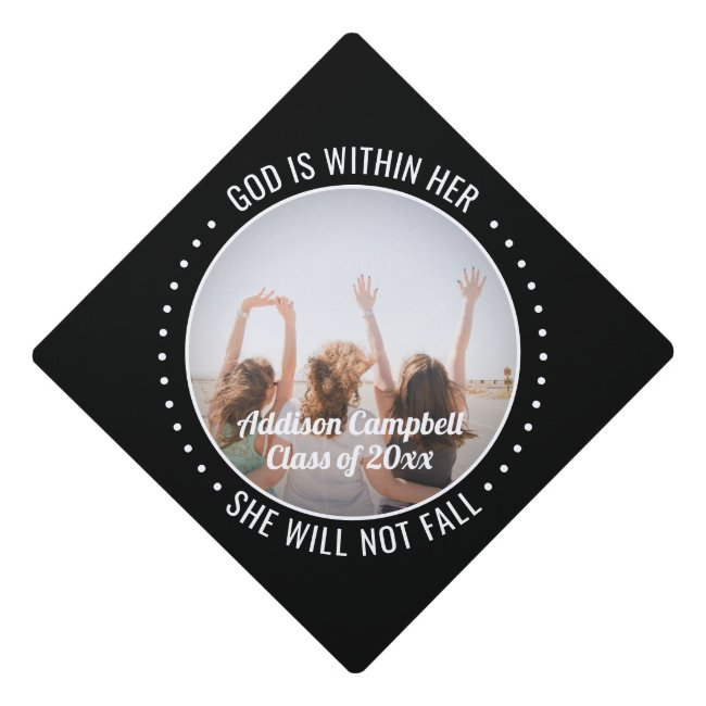 Any Inspirational Quote & Photo Black and White Graduation Cap Topper