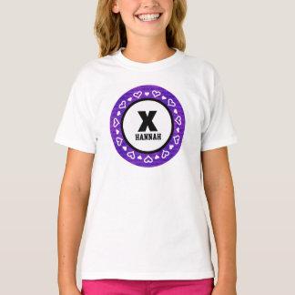 ANY KIDS YEAR Birthday HEARTS Frame PURPLE Z24B T-Shirt