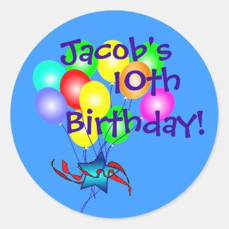 Any Name & Age Fun Birthday Balloons Stickers