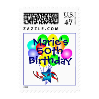 Any Name And Age Birthday Balloons Postage Stamps