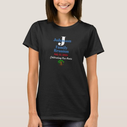 Any Name Any Date Family Reunion Dark Colors T_Shirt