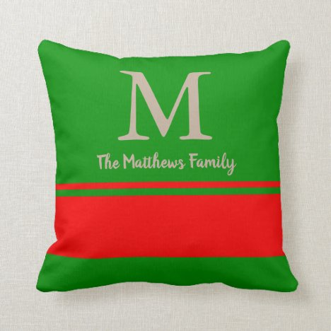 Any Name Any Monogram Chic Stripe Trendy Red Green Throw Pillow