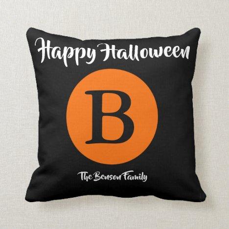 Any Name Any Monogram Halloween Moon Orange Black Throw Pillow