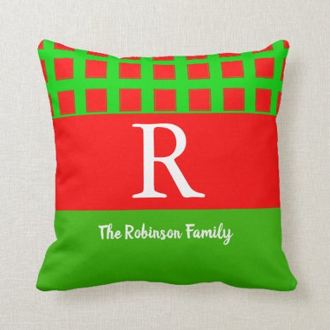Any Name Any Monogram Personalize Trendy Red Green Throw Pillow
