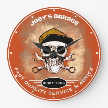 Any Name Garage Skull Wrenches Smoke Orange Large Clock