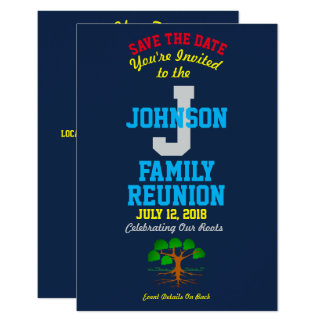 Any Name Navy Color Family Reunion with Any Date - Card