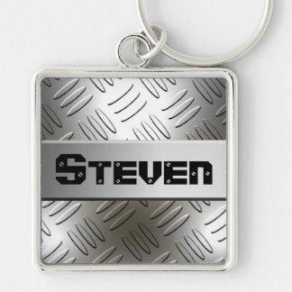Any Name On Metal Diamond Plate Keychain