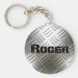 Any Name On Metal Diamond Plate Keychain at Zazzle